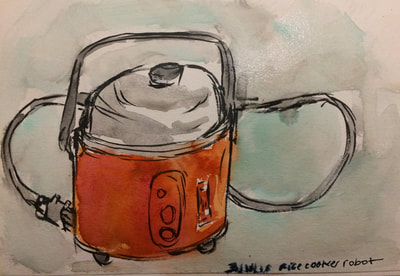 Watercolor painting of a bright orange rice cooker.